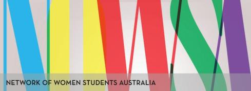 A graphic of large multi-coloured letters reading NOWSA, and smaller plainer text in front reading Network Of Women Students Australia
